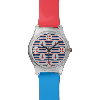 Nautical Stripes And Dots Pattern Watch