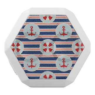 Nautical Stripes And Dots Pattern White Bluetooth Speaker