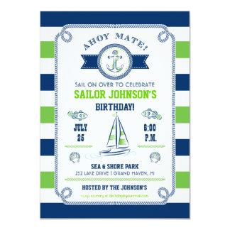 Nautical Stripes Birthday Invitation