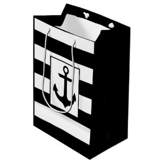 Nautical Stripes   Black Medium Gift Bag