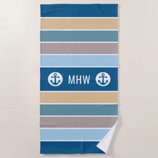 Nautical Stripes custom monogram beach towel