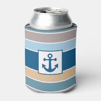 Nautical Stripes custom monogram can cooler