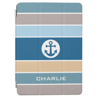 Nautical Stripes custom monogram device covers iPad Air Cover