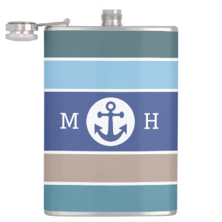 Nautical Stripes custom monogram flasks
