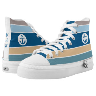 Nautical Stripes custom monogram high-tops Printed Shoes