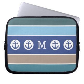 Nautical Stripes custom monogram laptop sleeves