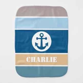 Nautical Stripes custom name baby burp cloth