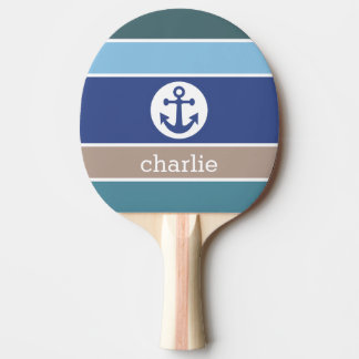 Nautical Stripes custom name ping pong paddle