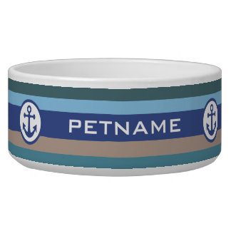 Nautical Stripes custom pet bowls
