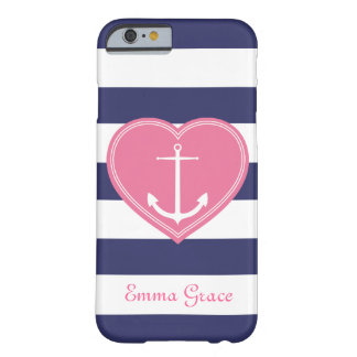 Nautical Stripes Heart and Anchor Monogram Pink Barely There iPhone 6 Case