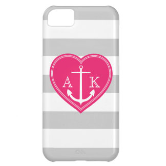 Nautical Stripes Heart and Anchor Monogram Pink iPhone 5C Case