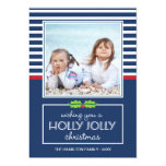 Nautical Stripes Holly Jolly Christmas Flat Card Personalised Announcements