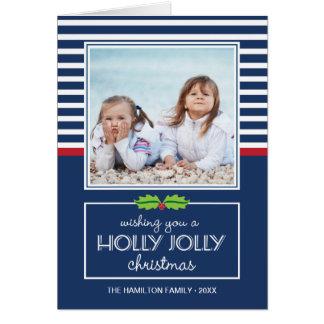 Nautical Stripes Holly Jolly Christmas Folded Card