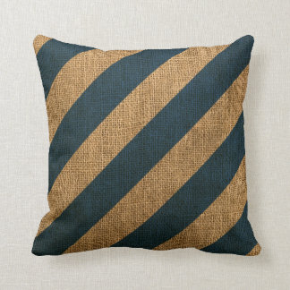 Nautical Stripes in Deep Sea Blue Cushion