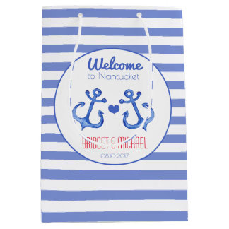 Nautical stripes & Navy Anchor Wedding Welcome Bag