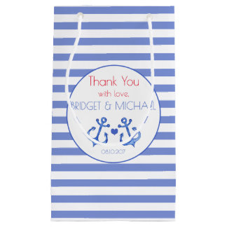 Nautical stripes & Navy Anchors Wedding Gift Bag