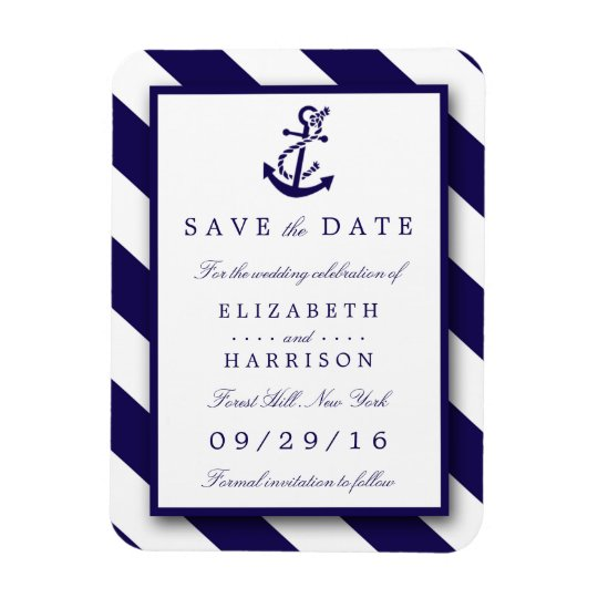 Nautical Stripes & Navy Blue Anchor Save The Date Rectangular Photo Magnet
