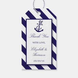 Nautical Stripes & Navy Blue Anchor Wedding Gift Tags