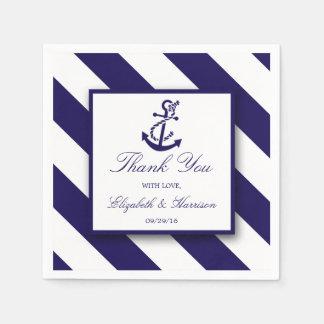 Nautical Stripes & Navy Blue Anchor Wedding Paper Napkins