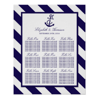Nautical Stripes & Navy Blue Anchor Wedding Poster