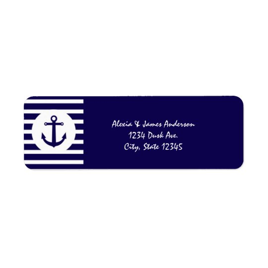 Nautical Stripes Navy Blue Elegant Address Labels