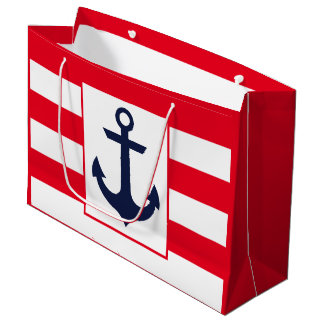 Nautical Stripes | Red Large Gift Bag