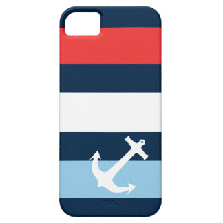 Nautical stripes sea anchor navy blue barely there iPhone 5 case