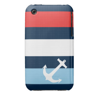 Nautical stripes sea anchor navy blue Case-Mate iPhone 3 case