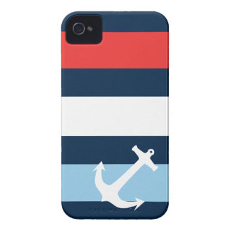 Nautical stripes sea anchor navy blue iPhone 4 Case-Mate case