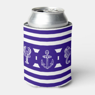 Nautical Stripes & Sea Creatures Can Cooler