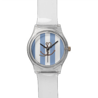 Nautical stripes with anchor watch