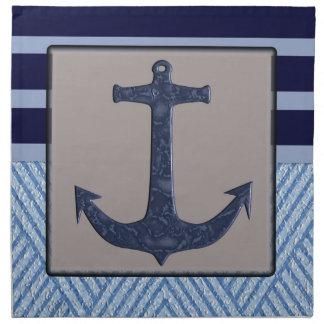 Nautical stripes with ships anchor napkin