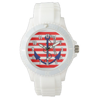 Nautical Stripes with Ships Anchor Red White Blue Watch