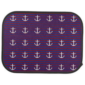 Nautical Stripes with White Anchors Floor Mat