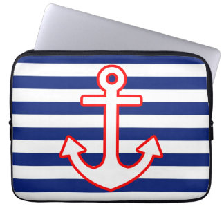 Nautical Style Anchor Icon on Stripes Laptop Sleeve