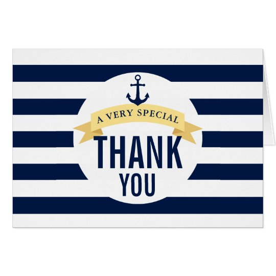 Nautical Style Theme Celebration Thank You Card