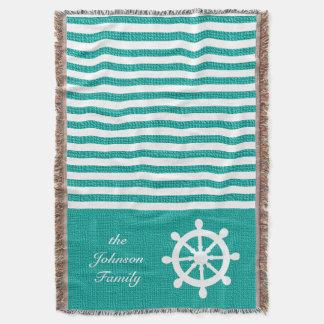 Nautical Teal and White Stripes
