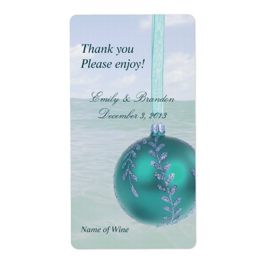 Nautical Teal Personal Holiday Wine Labels