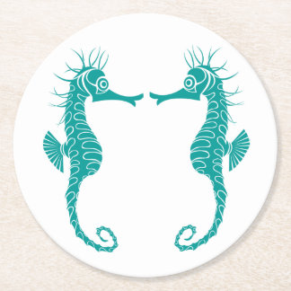 Nautical Teal Seahorse Love - Wedding Party Round Paper Coaster