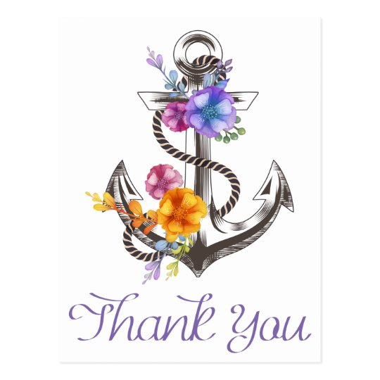 Nautical Thank You Boat Anchor Floral Postcard
