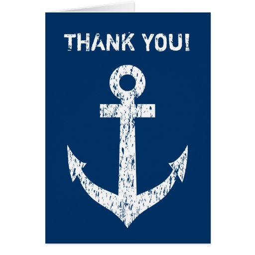 nautical thank you card with white boat anchor