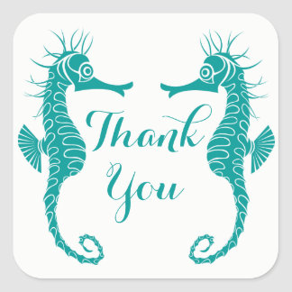 Nautical Thank You Seahorse Teal - Beach Wedding Square Sticker