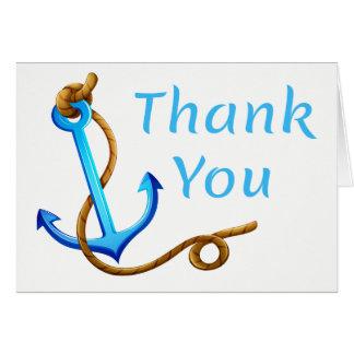 Nautical Thank You Ship Anchor Blue Turquoise Card