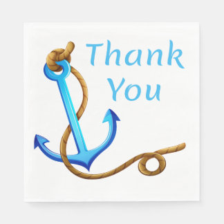 Nautical Thank You Ship Anchor Blue Turquoise Paper Napkin