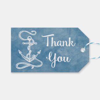 Nautical Thank You Ship Anchor Blue Watercolor Gift Tags