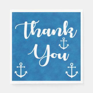 Nautical Thank You Ship Anchor Blue Watercolor Paper Napkins