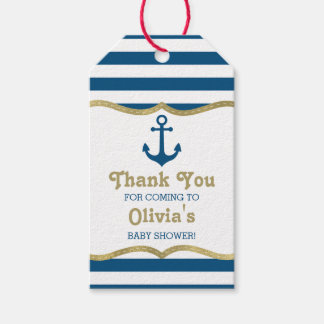 Nautical Thank You Tag, Anchor, Faux Foil Gift Tags