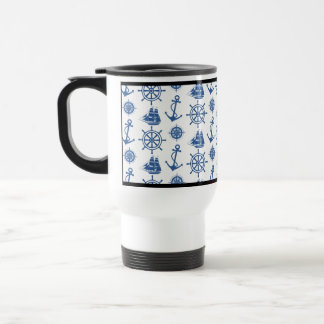 Nautical Theme Anchor Blue and White Stainless Steel Travel Mug