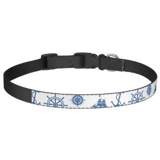 Nautical Theme Anchor Blue and White Pet Collar