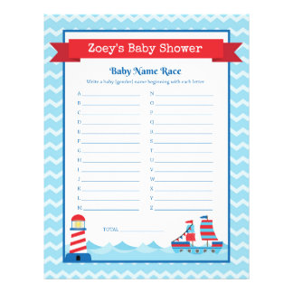 Nautical Theme Baby Shower Game 21.5 Cm X 28 Cm Flyer
